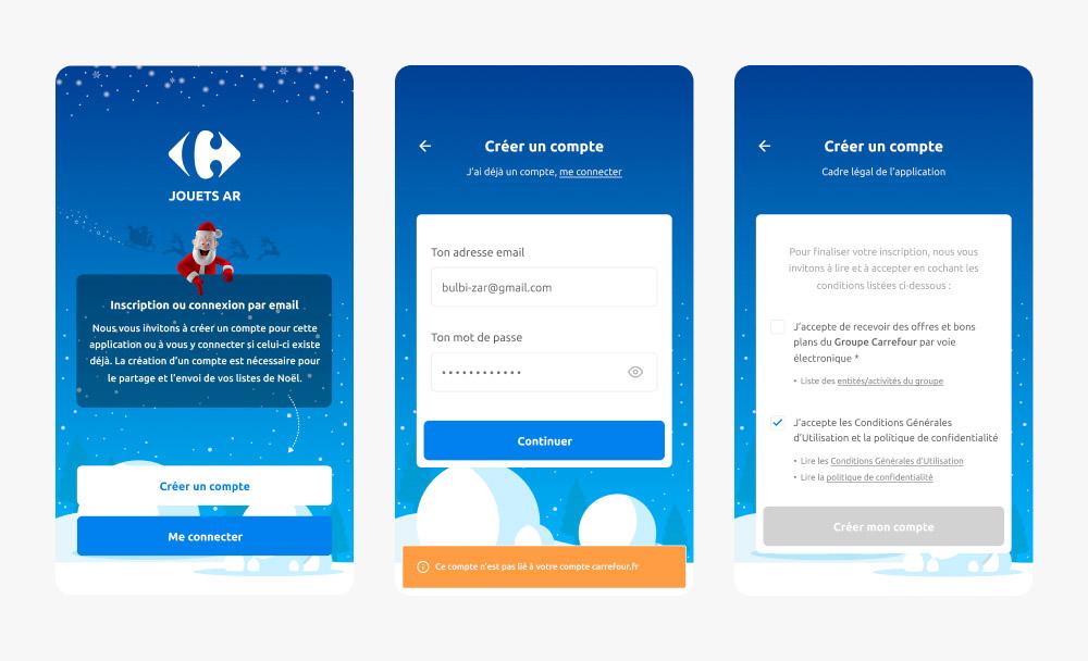 Écran de connexion de l'application Carrefour Jouets AR