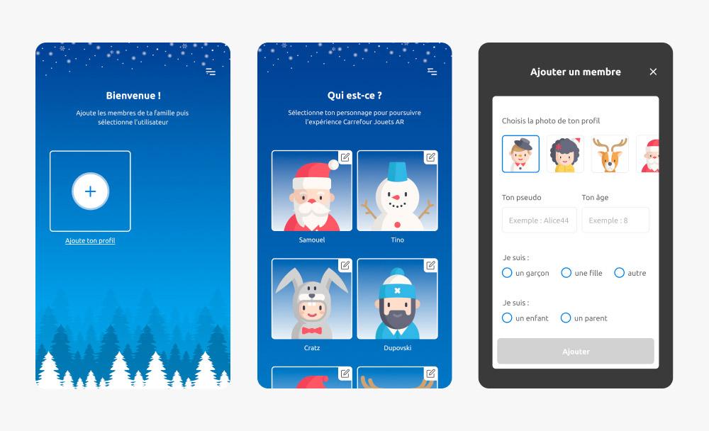 Création d'un utilisateur dans l'application Carrefour Jouets AR