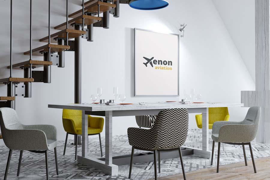 Mise en situation du logo de la société Xénon Aviation