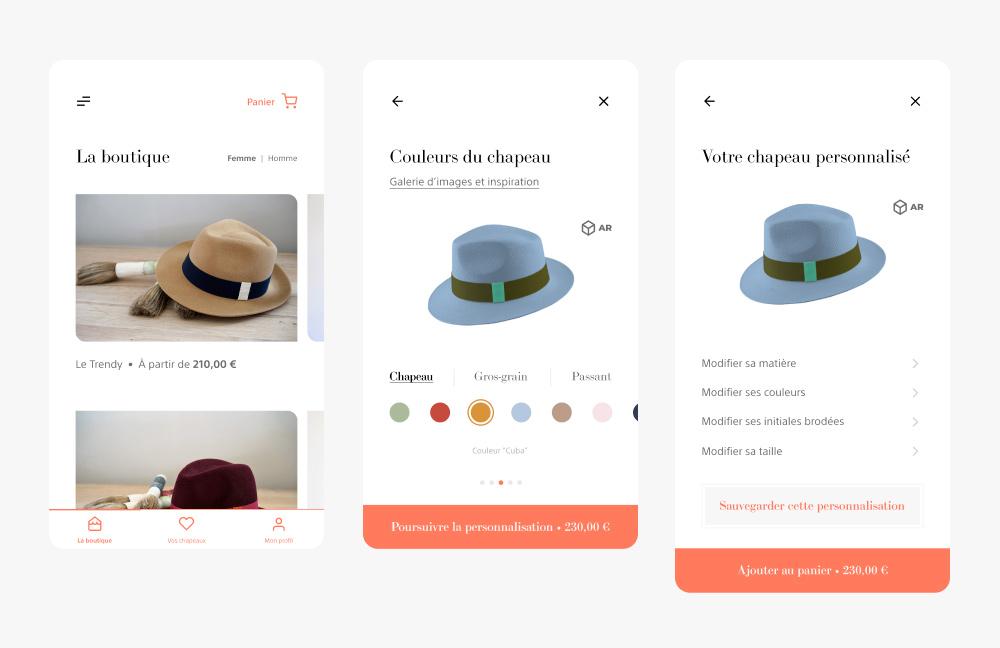 Écran de personnalisation de l'application La Cerise sur le Chapeau