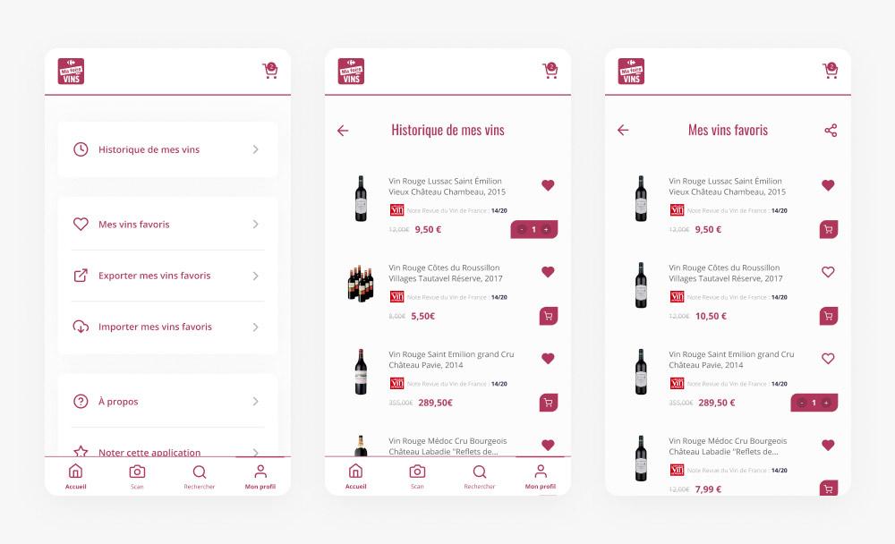 Écran du profil utilisateur de l'application Ma Foire aux Vins
