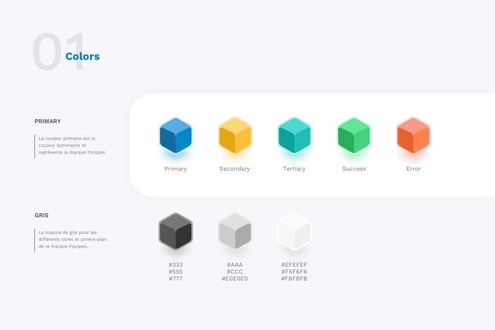 Design System colorimétrique du site de cashback Poulpeo