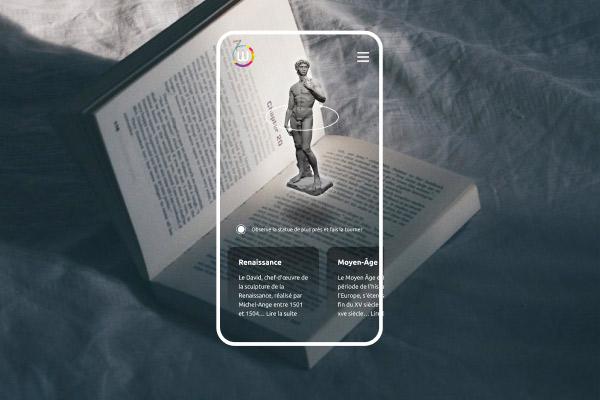 Téléphone affichant une expérience de réalité augmentée appliquée sur un livre